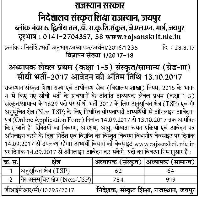 Rajasthan-Sanskrit-Teacher-Recruitment-2017