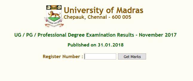 madras university-results