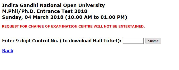 GNOU M Phil/Ph D hall ticket