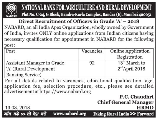 NABARD Officers in Grade 'A' / Assistant Manager Recruitment 2018 - 92 Posts Apply Now