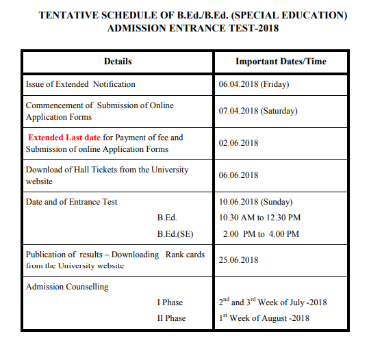 B.Ed/B.Ed (SE) Entrance Test-2018 Last Date 02-06-2018 exam on 10-06-2018