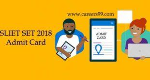 SLIET SET 2018 Admit Card
