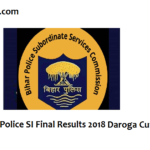 Bihar SI Results & Cut off Marks 2018-19 BPSSC Daroga Final Merit List