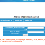 AP DSC SA Hall Ticket 2018