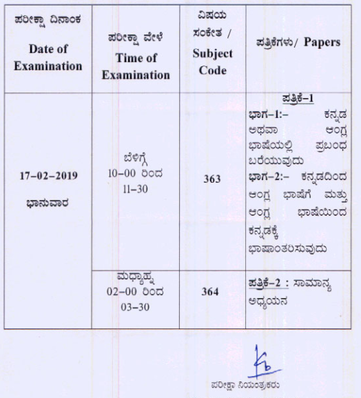 KPSC Excise SI Admit Card